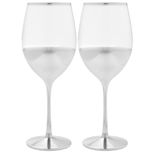 SILVER WINE GLASSES SET OF 2
