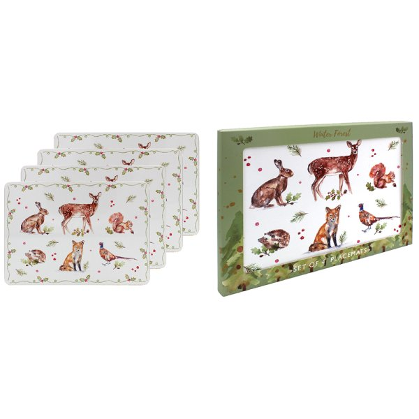 WINTER FOREST PLACEMATS SET 4