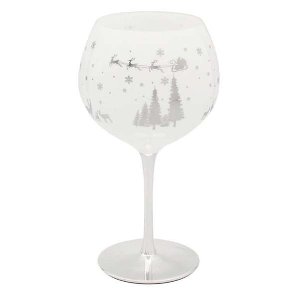XMAS WOODLAND SILVER GIN GLASS