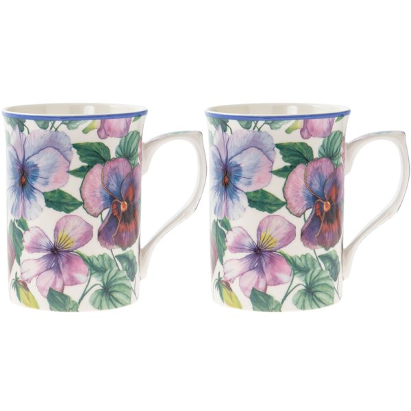 PANSY MUGS 2 SET