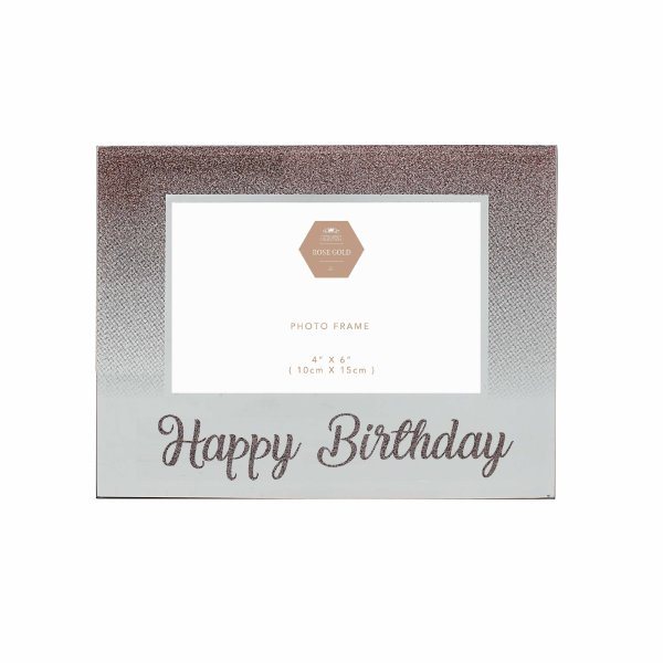 HAPPY BDAY ROSE GOLD FRAME 4X6