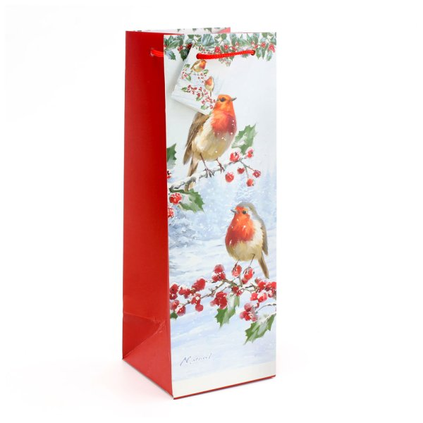 CHRISTMAS ROBINS BOTTLE BAG