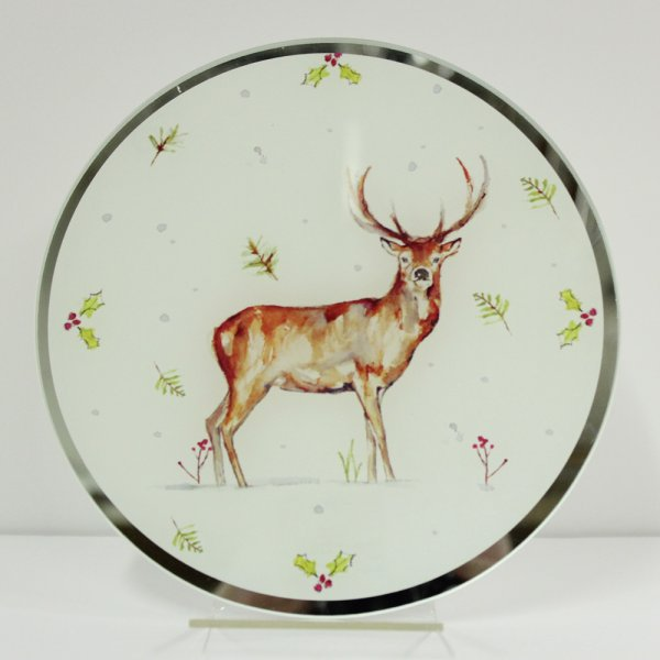 WINTER STAGS CANDLE PLATE 20CM