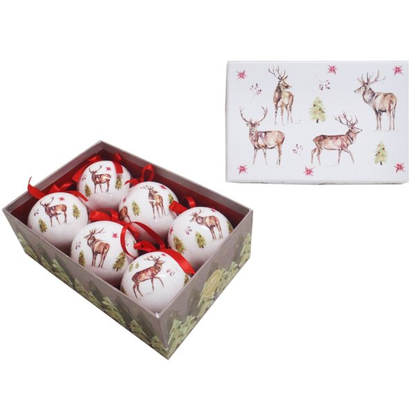 WINTER STAGS BAUBLES 6 SET