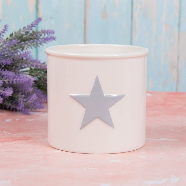 WHITE & GREY STAR PLANT POT L
