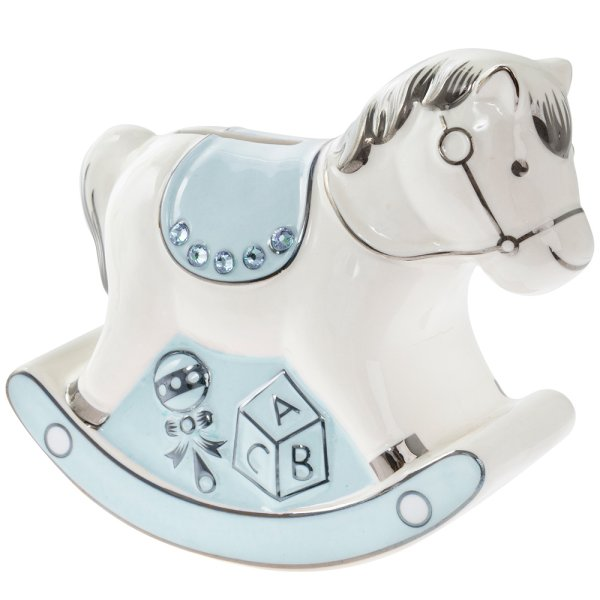 BLUE ROCKING HORSE MONEY BANK
