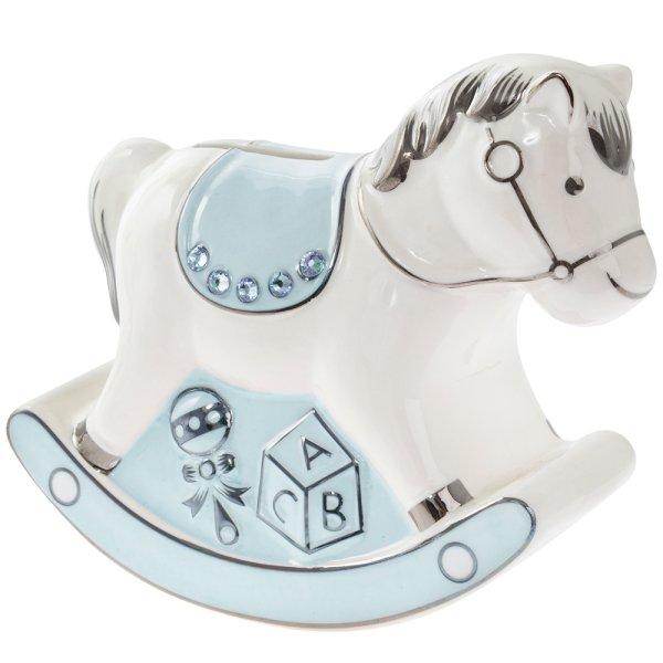 BLUE ROCKING HORSE MONEY BANK