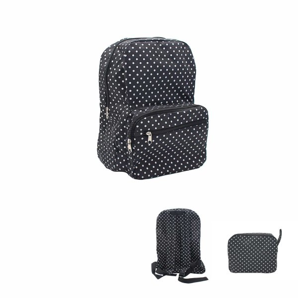 TRAVEL BACKPACK B&W POLKA DOTS