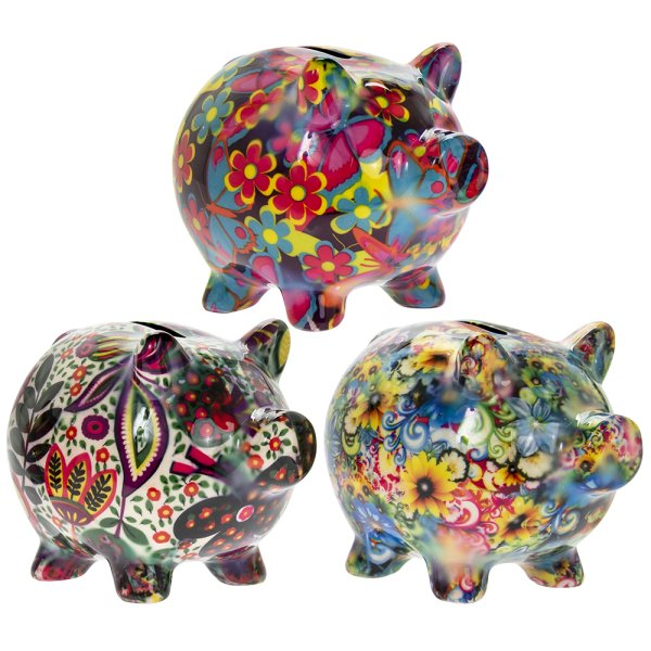 PIGGY FLORALS MONEY BANK 3AS S
