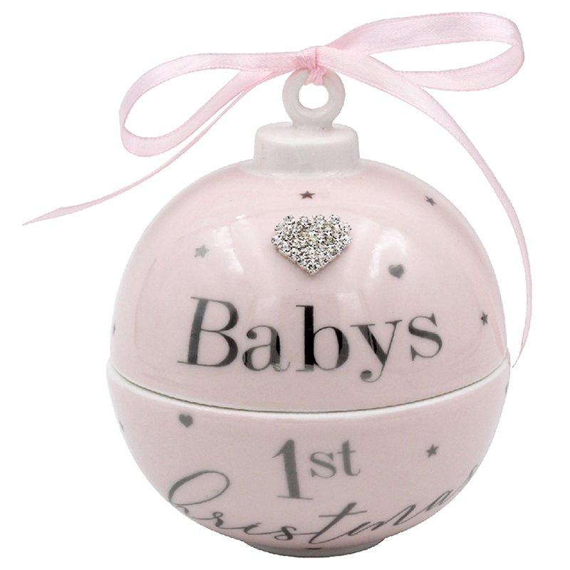 BABY'S 1ST XMAS BAUBLETRINKPNK