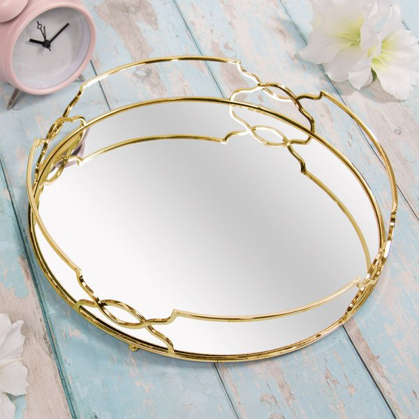 GOLD CRYSTAL TRAY 31 CM