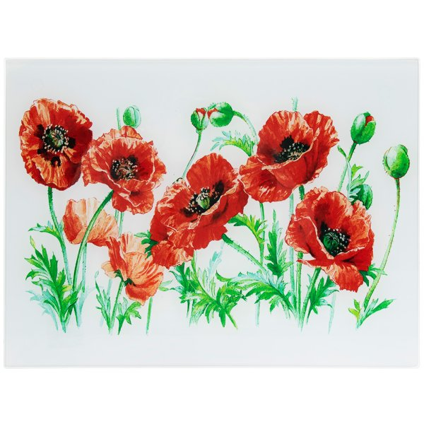 POPPY FIELD GLASS CUTTINGBOARD