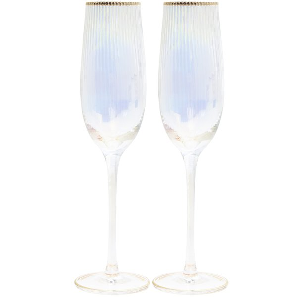LUSTRE RIBBED FLUTES SET OF 2