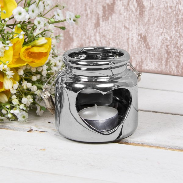 HEART CANDLE HOLDER SILVER 8CM