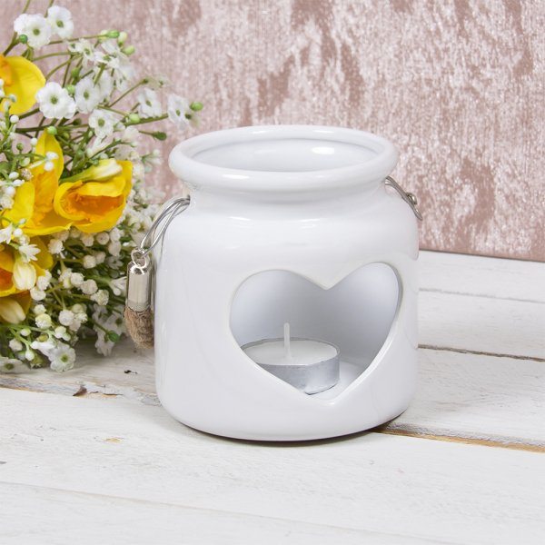 HEART CANDLE HOLDER WHITE 10CM