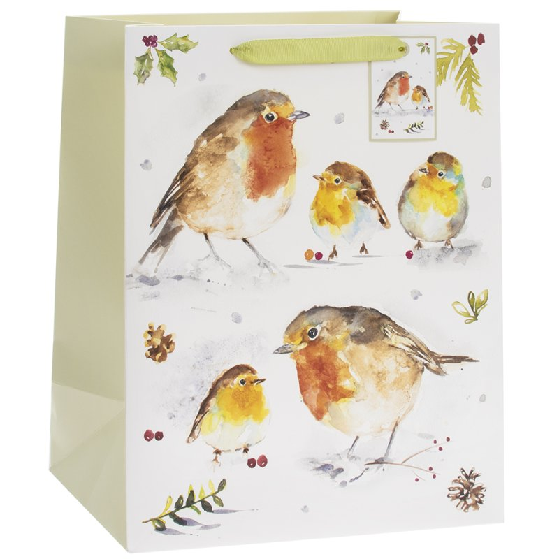 WINTER ROBINS GIFT BAG LGE