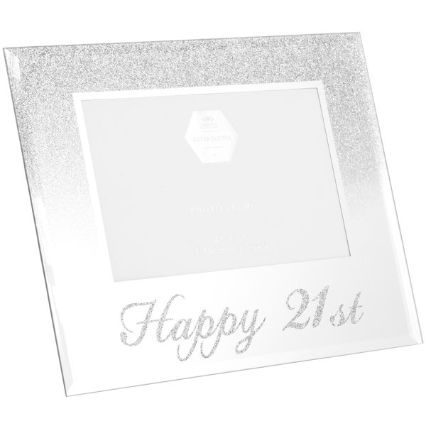 SIL GLITTER HAPPY21STFRAME 4X6