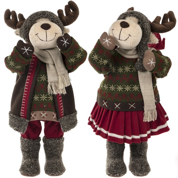 REINDEER BOY & GIRL RUSTIC 28""