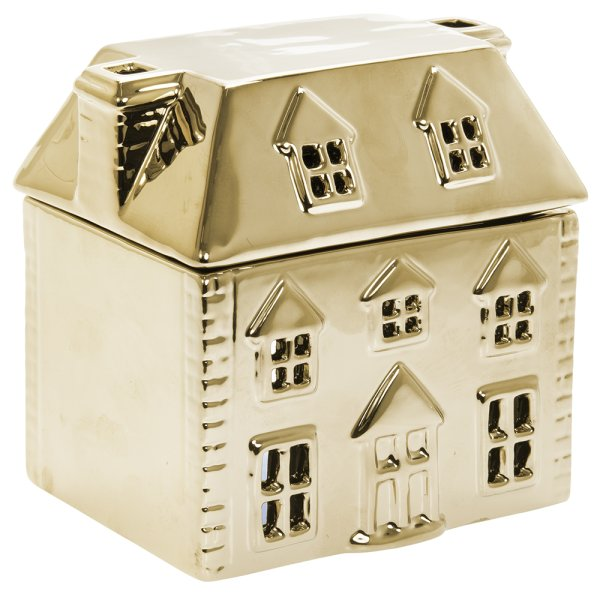 XMAS WAX/OIL WARMER GOLD HOUSE