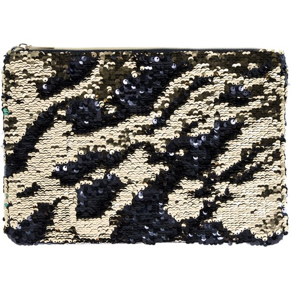 SEQUIN CLUTCH GOLD & BLACK