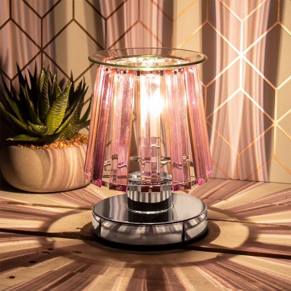 AROMA LAMP SILVER PINK CRYSTAL