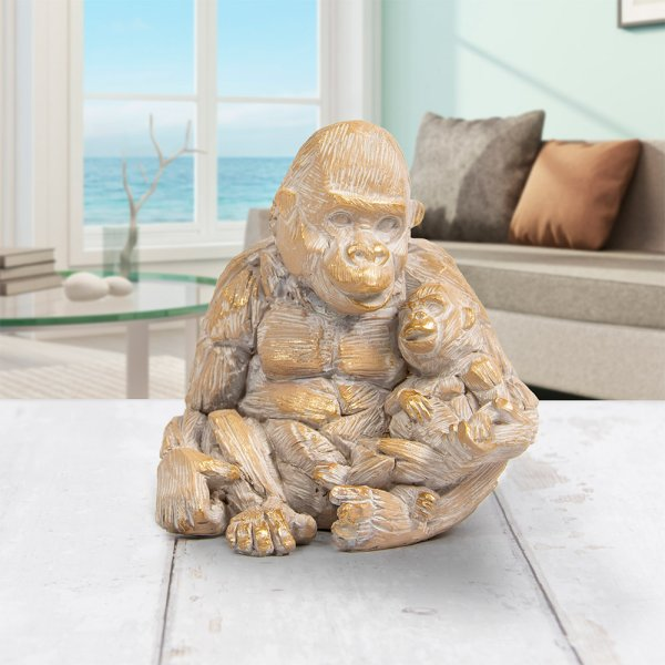 DRIFTWOOD GORILLA WITH BABY
