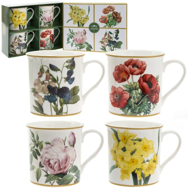 FLOWERS MUGS SET OF 4