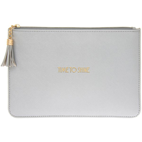 SHINE BRIGHT SILV CLUTCH POUCH