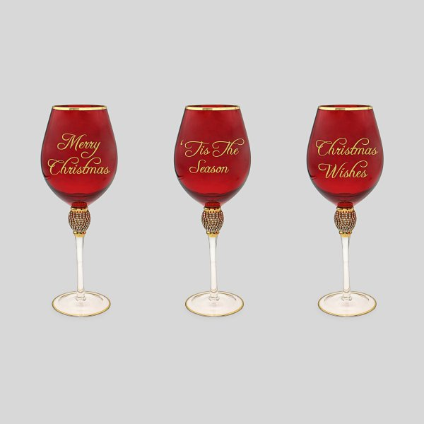 XMAS DIAMANTE WINE GLASS 3 AST
