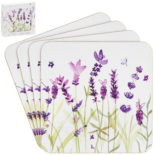 LAVENDER COASTERS SET OF 4