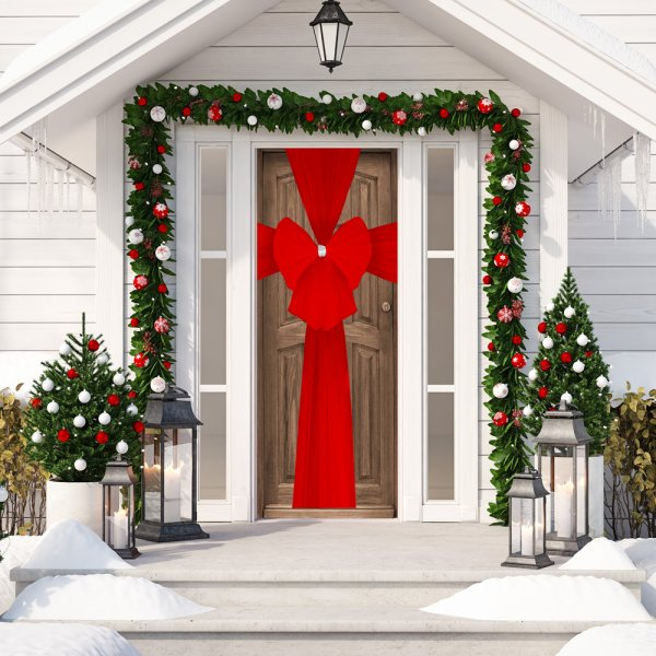 XMAS DECORATIVE DOOR BOW RED