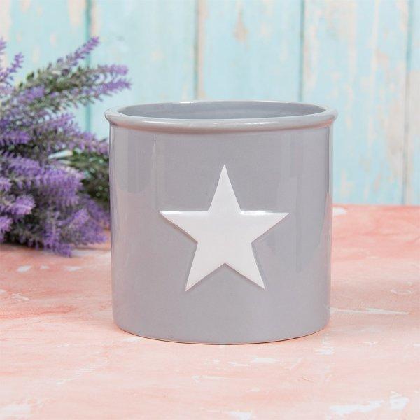 GREY & WHITE STAR PLANT POT L