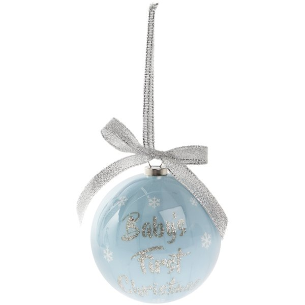 BABY'S 1ST XMAS BLU SML BAUBLE