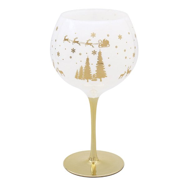 XMAS GIN GLASS GOLD WOODLAND