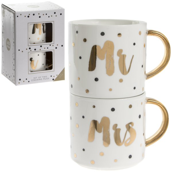 MR & MRS STACKING MUGS SET 2