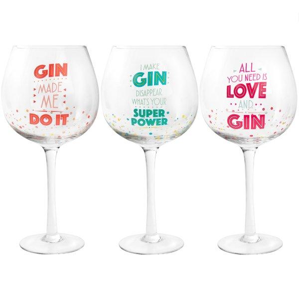 GIN / WINE GLASS 3 ASST