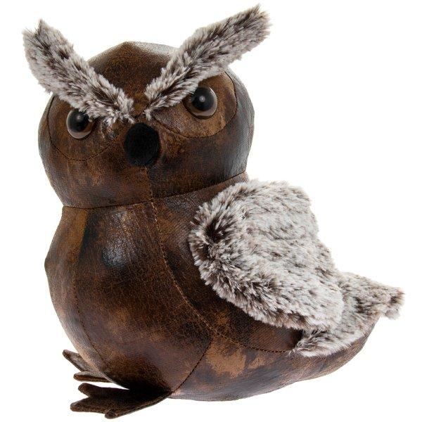 FAUX LEATHER OWL DOORSTOP