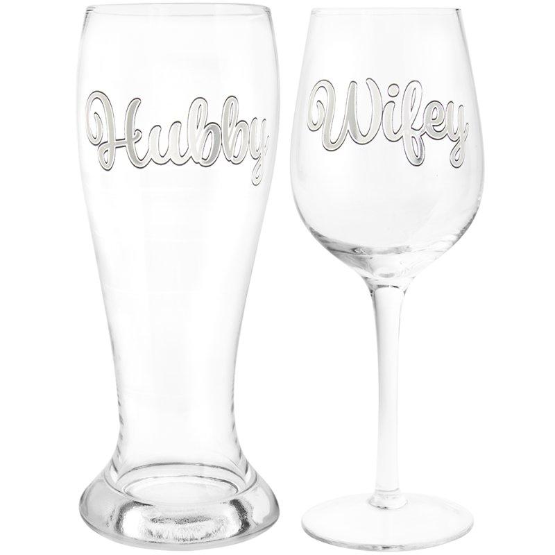 HUBBY & WIFEY BEER&WINE GLASS