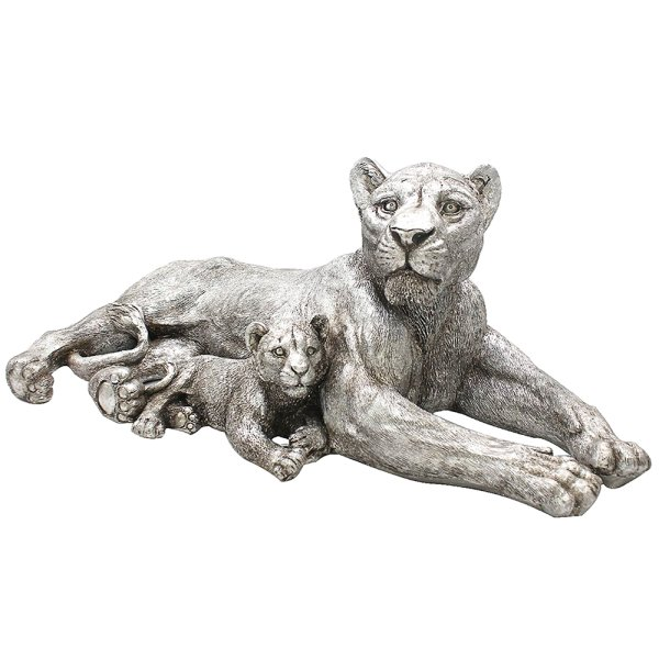 SILVER ART LION WITH CUB