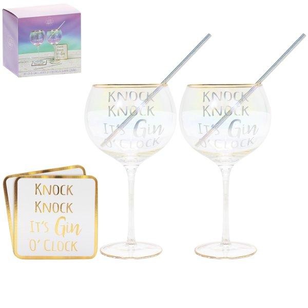 GIN GLASSES/COASTERS 2 SET
