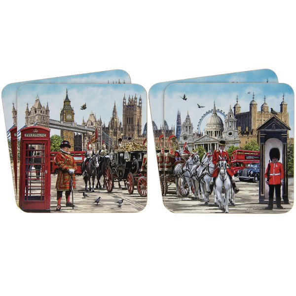 LONDON COLLAGE COASTERS S4