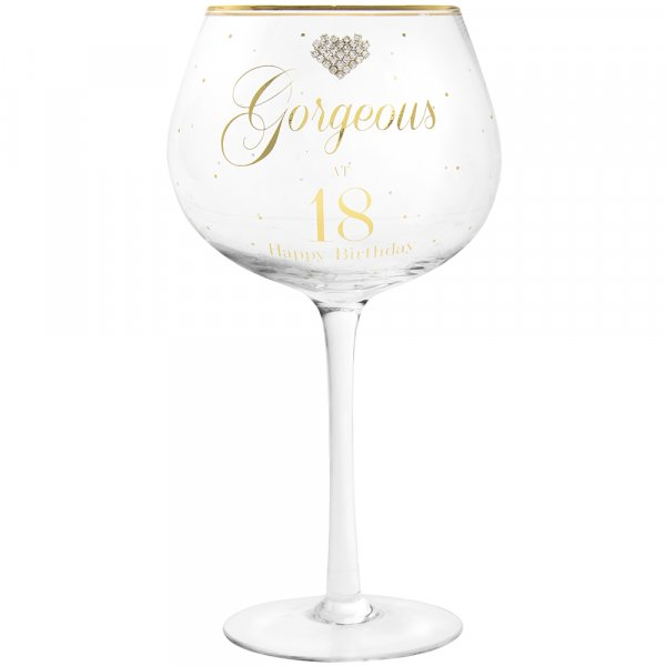 MAD DOTS GIN GLASS HAPPY 18TH
