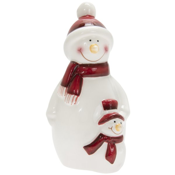 SNOWMAN WHITE & RED MED