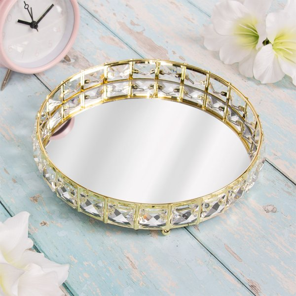 GOLD CRYSTAL TRAY 21 CM