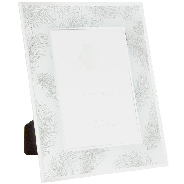 SIL FEATHER WHT FRAME 5X7