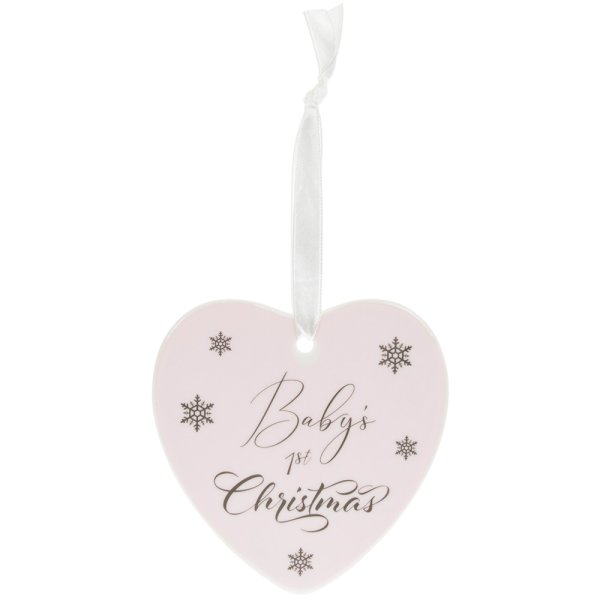 BABY'S 1ST XMAS PLAQUE PINK