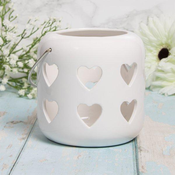 HEARTS LANTERN WHITE 12CM