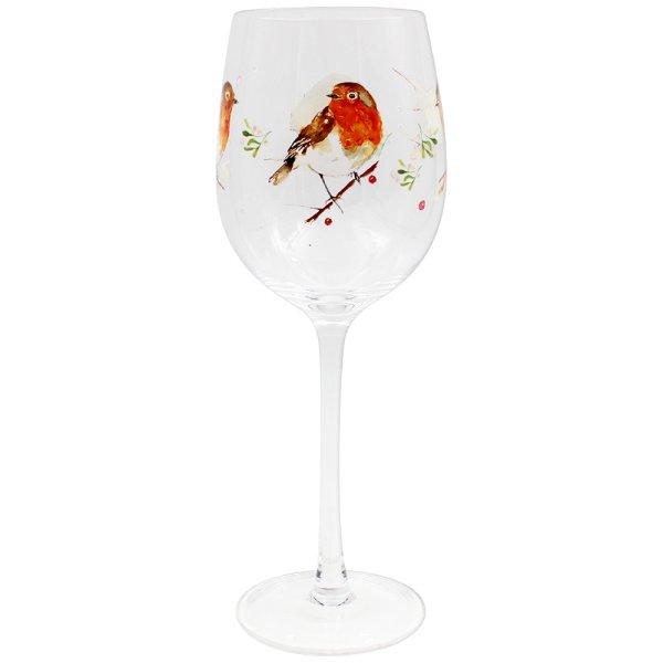 WINTER ROBINS WINE GLASS