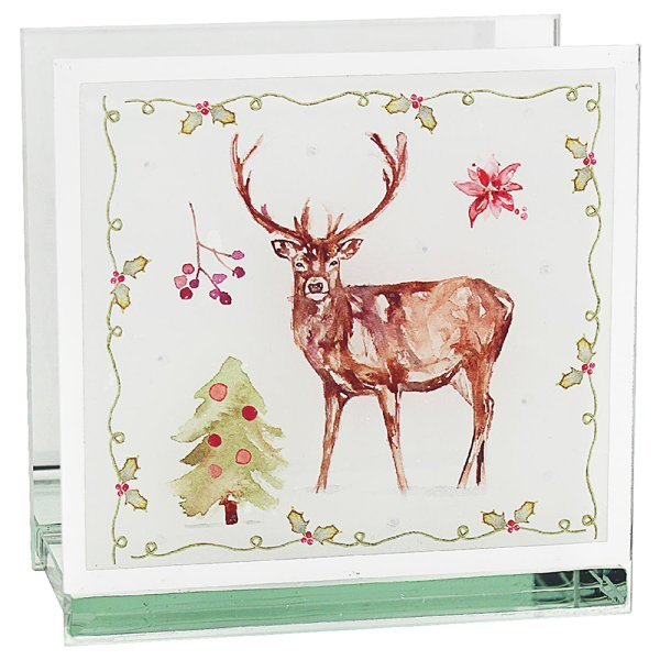 WINTER STAGS TEA LIGHT HOLDER