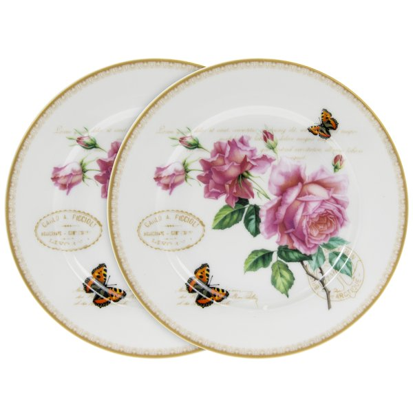 REDOUTE ROSE PLATES SET OF 2